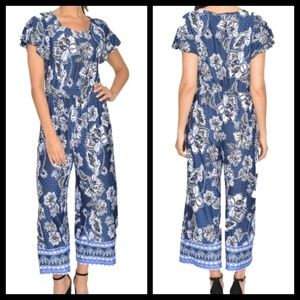 NY Collection Blue Jumpsuit Size SP NWT